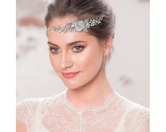 Bridal headpiece, crystal browband, crystal foreband, rose foreband, rose foreband, forehead hair jewelry, floral bowband