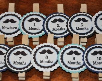 Mustache Photo Clips. mustaches. Same Design. mustache party. Photo Clips. Set of 13. Newborn-12 Months. White. Black. Navy. Light Blue.
