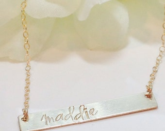 Hand Stamped Custom Personalized Name necklace-Necklace with Name-Gold name Necklace on rectangle bar-goldfilled necklace with name-