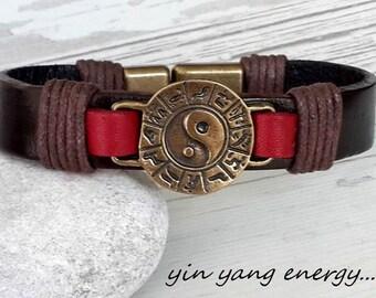 Yin Yang Leather Bracelet , Handmade Jewerlly,Wedding gift, Christmas gift ideas , Woman Accessories,Energy Bracelet
