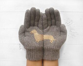 Pet Gloves, Dachshund Gift, Women Gloves, Winter Sale, Gift For Her, Dog Lover Gift, Dachshund Lover, Pet Lover Gift, Girlfriend Gift