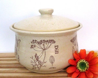 Stoneware Casserole - Lidded Casserole - Baking Dish - Ready to Ship - Ovenware -  Herb Motif-  Wheel Thrown Stoneware Pottery