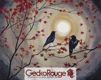 Raven Cross Stitch, Laura Iverson Art, 'Ravens in Autumn'' Counted Cross Stitch KIT,  Modern Cross Stitch, Gothic Cross Stitching Set