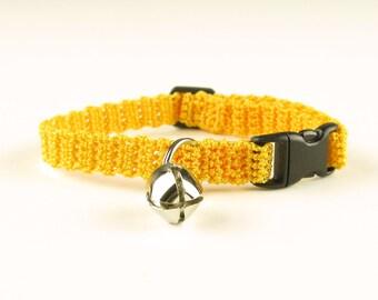 Cat Collar Crochet Marigold Yellow Breakaway Collar Kitty Kitten