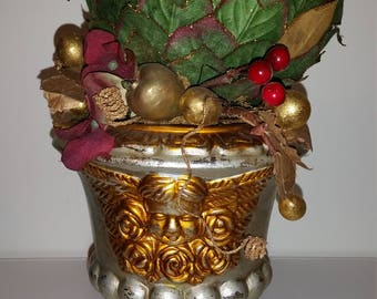 Christmas Topiary / Christmas Tree / Cherub / Potted Plant / Christmas Plant / False Plant / Fake Plant / Christmas Decor / Silver /Gold/CIJ