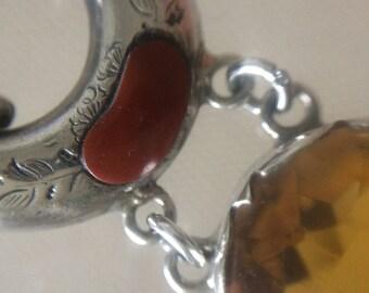 Sterling Silver Scottish Agate Bracelet. Pebble. Cairngorm? Paste/ Glass.1890. Handmade.