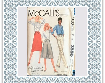 McCall's 7856 (1982) Misses' skirt, pants, and culottes - Vintage Uncut Sewing Pattern