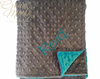 Personalized Baby Blanket, Personalized Minky Blanket Charcoal Grey Gray and Dark Turquoise