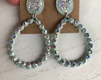 Gorgeous Mint Green/Lt. Turquoise with AB rhinestones