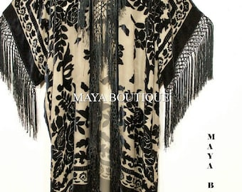 Fringe Jacket Kimono Duster Silk Burnout Velvet Taupe Black Maya Matazaro Plus
