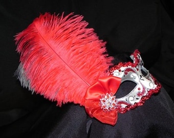 Red and Silver Feather Masquerade Mask