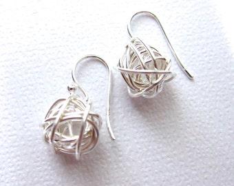 Dangle Drop Earrings, Sterling Silver Earrings, Modern Jewelry, Short earrings, Wired ball earrings, tangled earrings, silver earring