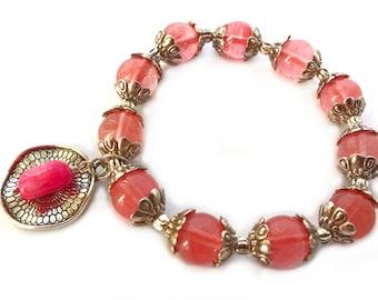 Quartz bracelet, gemstone bracelet, coral beads