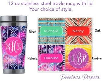 Personalized travel mug with lid - bohemian style cup, monogrammed mug, coffee mug gifts with bohemian theme