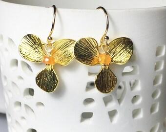 Carnelian Earrings, Gold Drops, Orchid Flower, Gifts for Her, Everyday Earrings, Bridal Party, Carnelian Dangles,Carnelian Leaf Earrings
