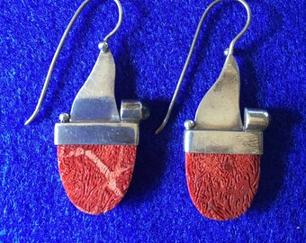 Vintage 1960s Scandinavian Red Sponge Coral & 925 Silver Earrings with Moonstone Cabochon