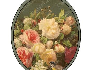 Vintage Oval Blumen Stichworte druckfähigen Digital Download