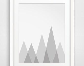 Mountain Wall Art, Grey Wall Prints, Mountain Print, Grey Art, Printable Art, Nursery Art, Grey and White, MelindaWoodDesign