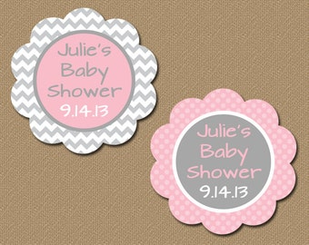 Personalized Baby Shower Party Favor Tags, Printable Pink & Gray Chevron Tags, DIY Baby Shower Gift Tag Template, Girl Baby Shower Tags BB1