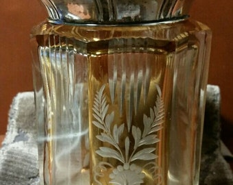 Toilet octagonal bottle crystal and silver
