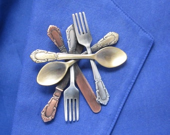 Silverware Brooch- Chef Gift- Cook Gift- Knife Fork Spoon- mixed metal jewelry