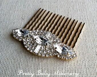 Gold hair Comb, Art Deco hair comb, Art Deco hair accessories, Gold Bridal Hair Comb, bridal comb crystal rhinestone GOLD NAVETTE MED