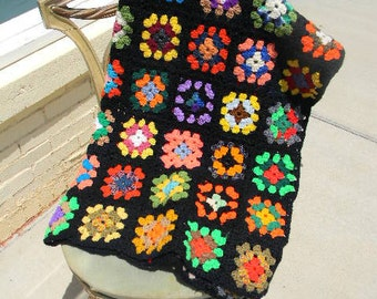 Granny Square Hand Crochet Afghan