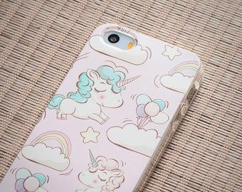iPhone SE Case iPhone 5s Case iPhone Case SE iPhone Case 5s - Rainbow Unicorn - Pastel Pink - Kawaii Case - TRANSPARENT or Opaque Slim Case