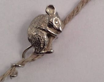 Silver climbing mouse miniature, silver miniature mouse, keepsake mouse, cute Housewarming ornament