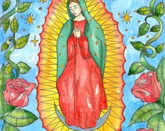 Our Lady of Guadalupe Art Print Virgin of Guadalupe Mexican Saint Voodoo Art Hoodoo Virgin Mary Divine Feminine Pagan Spiritual Santeria
