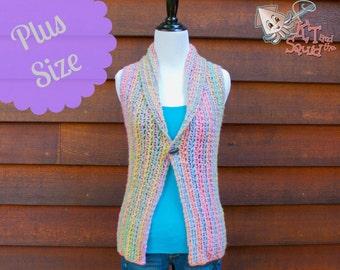 Crochet vest Pattern, Womens plus size top pattern, Crochet vest pattern,, Collared vest, instant download, one piece, easy crochet pattern