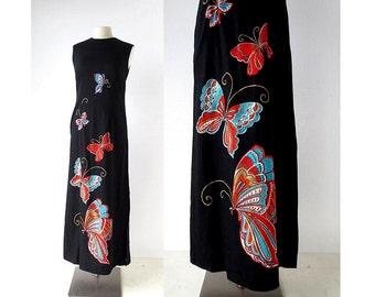 70s Maxi Dress | Butterfly Dress | 1970s Dress | XS
