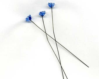 glass 8 mm - blue forget-me-not flower