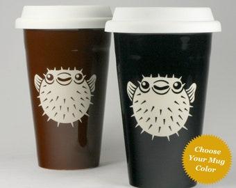 Puffer Fish Travel Mug - nautical porcupine fugu lidded coffee cup