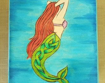 Celtic Mermaid Woodburned Box. Celtic Jewelry Box. Celtic Knot Mermaid Treasure Box. Red head mermaid gift.