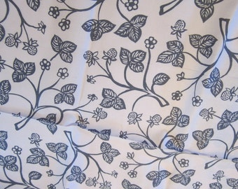 Pale Pink Vintage Fabric with Gray Trees and Fruits