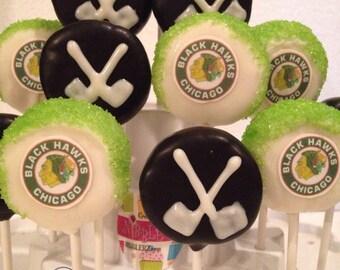 12 NHL Hockey theme cakepops, any team available, hockey fans giftbox