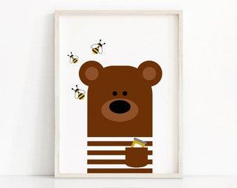 Bear Nursery Art, Animal Nursery Print, Kids Wall Art, Printable Nursery Decor, Instant Download Kids Room Decor, Baby Animal Wall Art Print