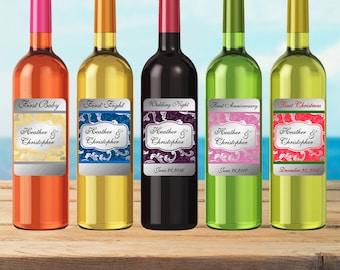 Wedding Milestone Wine Labels Personalized Wine Stickers Custom Wedding Firsts Labels - Waterproof Vinyl 3.5 x 5 inch