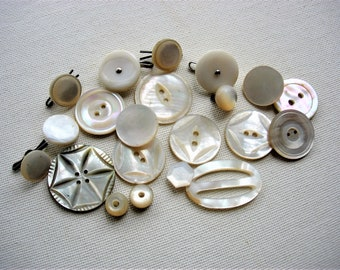 Lot of Various VIntage Fancy Mother of Pearl Shell Buttons