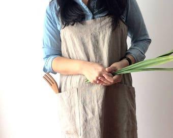 Linen Pinafore Apron - 100% Flax Linen, Japanese Apron, Crossback Apron, Square Apron, No tie apron, Linen apron, Mediumweight linen