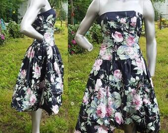 Strapless Dress, 80s Dress, Bubble Hem, Vintage Dress, 80s Costume, Bold Floral Dress, 80s Cocktail Dress, Vintage Party Dress, 80s Event