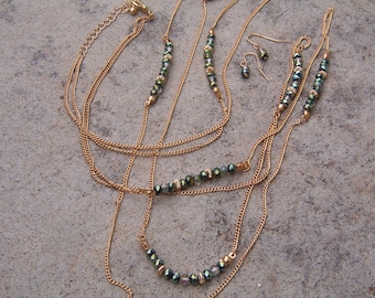 Necklace and Earring Set, Opera Length Crystal Beaded Gold Tone Necklace and Earrings