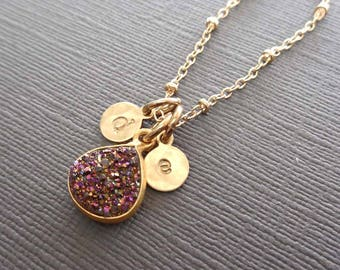 Druzy Necklace - Purple Druzy Gold Initial - Initial Druzy Purple-Violet Wedding Bridesmaid Gift Sparkly Stone Purple Heart Drusy Violet-G2