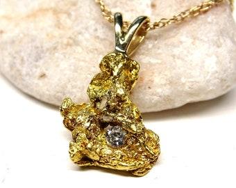 real gold nugget diamond pendant, raw gold nugget pendant, natural gold nugget necklace, Yukon gold nugget necklace mens gold nugget pendant