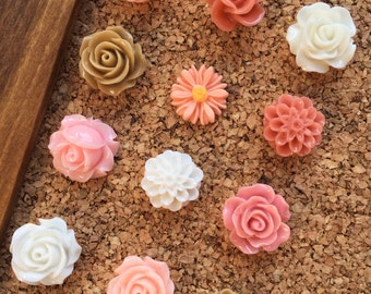 Thumb Tack Sets,Cute Push Pins,Stocking Stuffers for Her,Office Cubicle Decor,Practical Gifts for Women,Floral Tacks,Gifts for Journalists