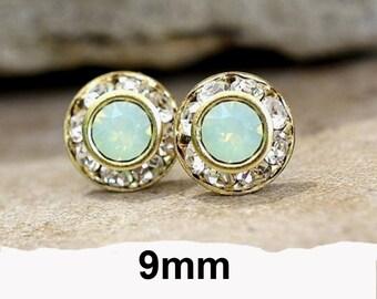 Chrysolite Opal Studs, Green Opal & Gold Earrings, 9mm studs, Swarovski,  Rhinestone Stud Earrings, Chrysolite Opal Earrings, Halo Studs