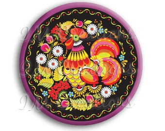 """LIQUIDATION SALE! Russian Rooster Pocket Mirror, Magnet or Pinback - 2.25"""""""