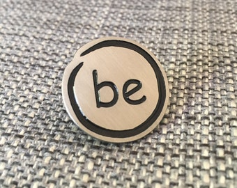 BE Silver Initials Lapel Pin