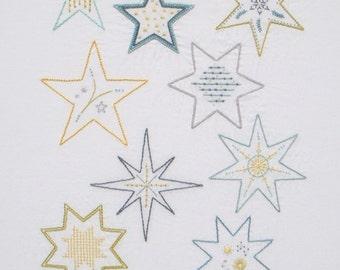 Super Stars modern hand embroidery pattern - modern embroidery PDF pattern, digital download